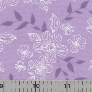 Lavender fabric with white flowers.