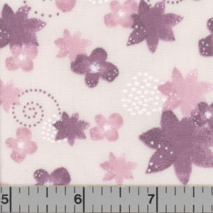 Cream fabric with rose and orchid flowers.