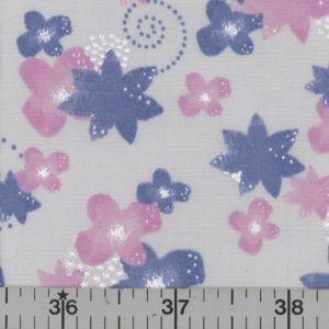 Silver fabric with orchid and blue flowers.