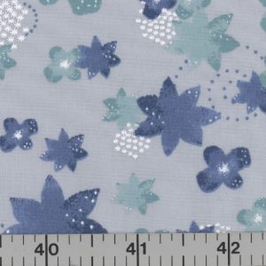 Silver fabric with teal and dark blue flowers.