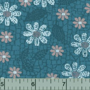 Dark teal fabric with white and coral flowers.