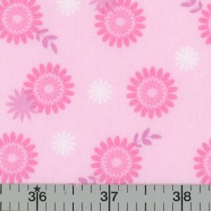Pink fabric with pink and white daisies.