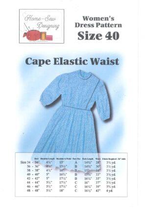 Women's Standard Cape Dress Pattern.