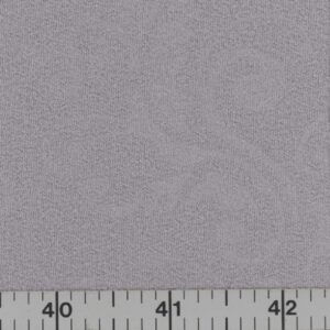 Silver gray polyester fabric with embossed vine scroll.