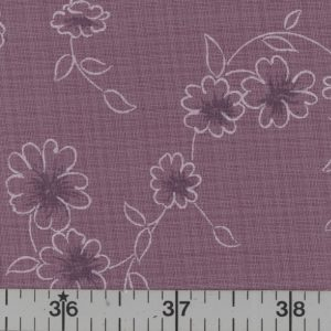 Grape fabric with plum and white flowers white vines.