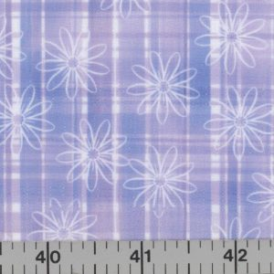 Lavender and blue fabric with stripes and outline flowers.
