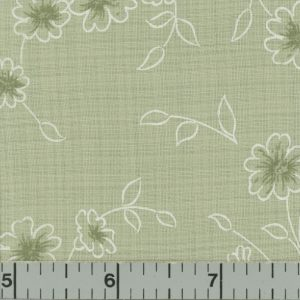 Sage Green Fabric with Sage and White Flowers White Vines