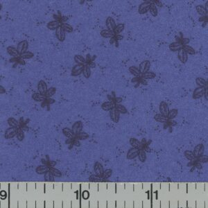 Dark royal blue fabric with black leaves.