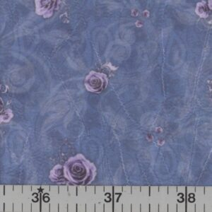 Blue fabric with purple roses.