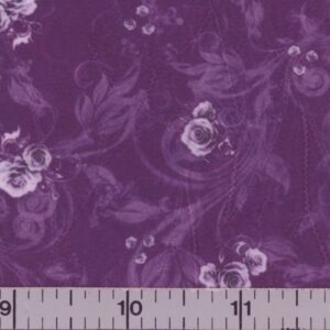 Plum fabric with lavender colored roses.