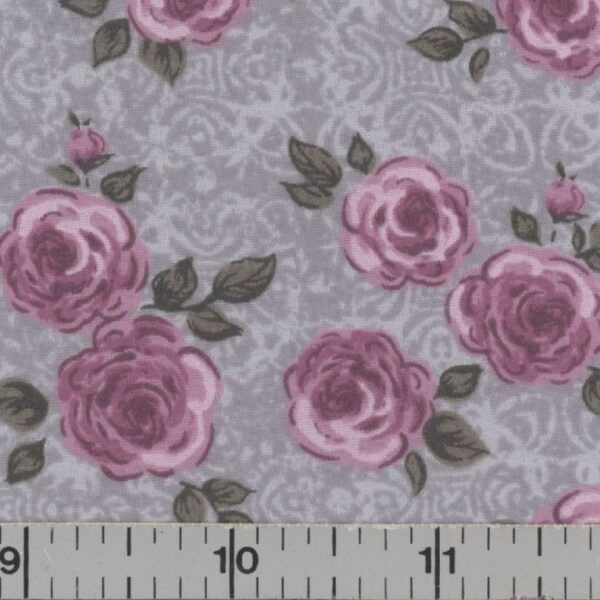 Gray fabric with pink roses.