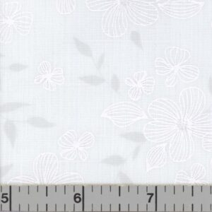 White fabric with white flowers.