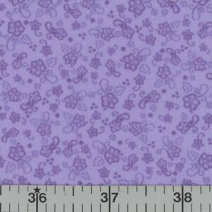 Lavender fabric with lavender flowers.