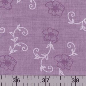 Lavender fabric with orchid-pink flowers.