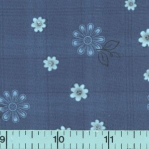 Navy plaid fabric with blue flowers.