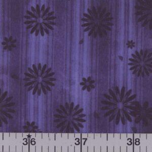 Purple fabric with black flowers.