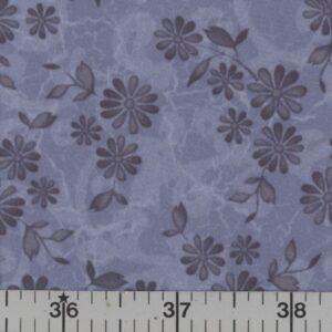 Denim blue fabric with blue flowers.