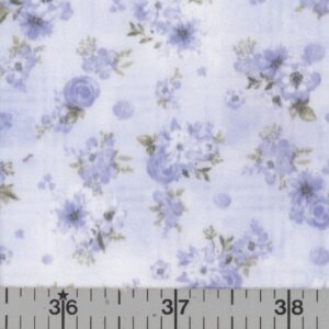 Soft blue fabric with blue flowers.