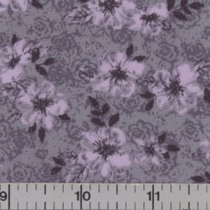 Gray fabric with orchid flowers.