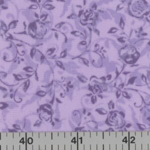 Lavender fabric with purple flowers.