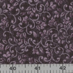 Black fabric with orchid swirls.