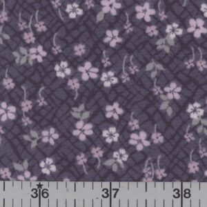Dark blue fabric with pink flowers.