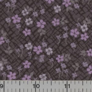 Charcoal fabric with orchid flowers.